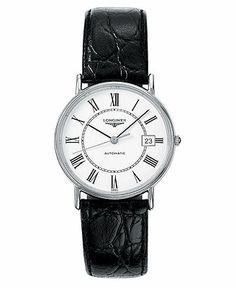 Longines Watch, Men's Black Alligator Strap L48214112