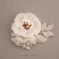 Swarovski Pearl Bridal Head Piece, Gold Bridal Hairpiece, Wedding Hairpiece…