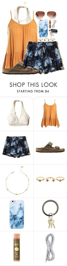 """my first set!!!"" by makinsayy ❤ liked on Polyvore featuring Hollister Co., Sans Souci, Birkenstock, House of Harlow 1960, O-Venture, Forever 21, B&O Play and Ray-Ban"