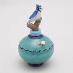 Blue Jay Perfume Bottle --   by Torchworks Glass Studio  --    Flameworked with raked design