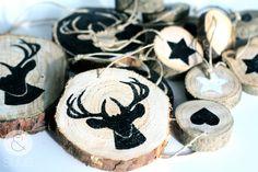 Set of 5 Christmas tree wooden hangers