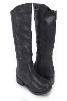 Be comfy yet stylish this season with these fashionable boots! They will go perfect with your favorite dress or skinnies! Make sure you add these to your closet, it definitely is a must have! The features include a faux leather upper with stitched detailing, round closed toe, back zipper closure, smooth lining, and cushioned footbed. Approximately 1 1/2 inch low heels, 15 inch circumference, and 12 inch shaft.