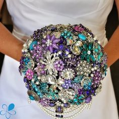 Cascading Brooch Bouquet - Blue Petyl Bouquets I'm in love and wish I would have done this