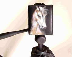 Hand Painted Horse On Men's Leather Wallet By VKALART