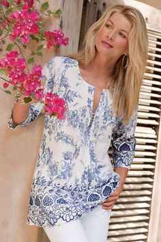 Nimes Tunic - Lightweight Tunic, Cutwork Embroidery, Floral Toile | Soft Surroundings
