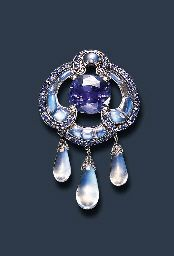 A RARE SAPPHIRE AND MOONSTONE BROOCH, BY LOUIS COMFORT TIFFANY, TIFFANY & CO. I cannot get over how luminescent these moonstones look!