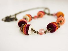 Handmade Long Necklace with Watermelon by CraftAroundTheClock, €38.00