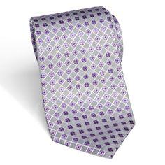 Sean John Silver And Purple Geometric Extra Long Silk Tie