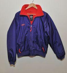 Vtg Columbia Colorblock Purple Red Jacket Radial Slve L Fleece Lined Ski winter #Columbia #SkiJacket