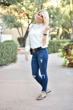 The cutest lace top! Easy to pair with jeans or a skirt #FallStyle #FallFashion #Ootd