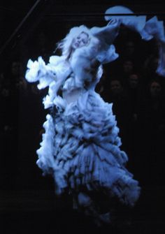 Kate Moss' hologram at the end of Alexander McQueen Fall 2006 show.