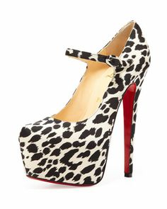 Lady Daf Leopard Mary Jane Red Sole Pump by Christian Louboutin at Neiman Marcus.