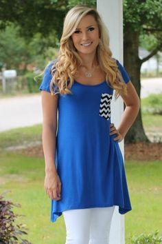 blue chevron pocket tunic