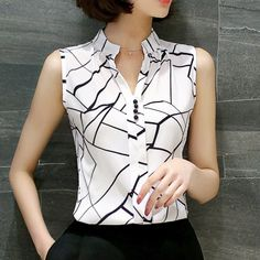 chiffon print blouse Picture - More Detailed Picture about 2017 New Summer Women Tops Casual Sleeveless V Neck Fashion Women Blouse Shirt Chiffon Print Blouses Ladies Blusas S XXL White Picture in Blouses & Shirts from women's fashion clothes store Casual Tops For Women, Blouses For Women, Ladies Tops, Modest Fashion, Fashion Outfits, Womens Fashion, Modest Outfits, Emo Fashion, Summer Outfits