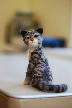 Needle felted cat - tiger striped by rootcrop54, via Flickr