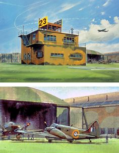 WWII British control tower. Observe the background detail: forefront an Airspeed Oxford, in front of it, an Avro Anson.