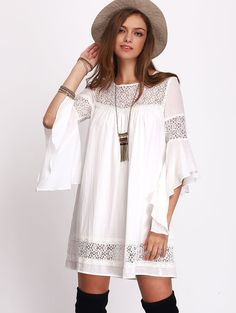 Online shopping for Crochet Bell Sleeve Dress WHITE from a great selection of women's fashion clothing & more at MakeMeChic.COM.