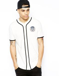 A little sport in your wardrobe / ASOS t-shirt with button through baseball placket and chest print
