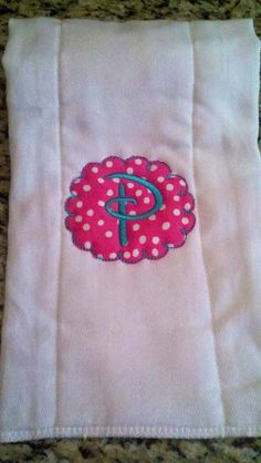 Personalized burp cloth with Disney letter. So cute!! Find us on Facebook sewcutechics