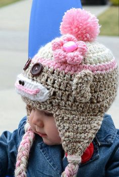 """SOCK MONKEY HAT  This pattern is for a skill level Beginner/Advanced Beginner. The pattern is written to use BERNAT SOFTEE CHUNKY TWIST in """"Taupe""""…Bulky Weight #5. I have trouble finding the yarn locally and must order it. Here is one vendor…but there are other vendors who sell this specific yarn.    http://www.yarnsupply.com/bernat-softeechunkytwists.html"""