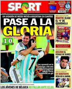 Portada Sport 02/07/2014 - Pase a la gloria