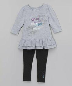 Gray Ruffle Tunic & Black Leggings - Infant, Toddler & Girls by Calvin Klein Jeans #zulily #zulilyfinds