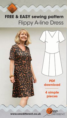 Free sewing pattern for women. The Flippy A-line Dress is a FREE PDF download with basic instructions on how to put it together and an accompanying blog post with advice and ideas about how to use fabrics for a fab chevron finish. Happy sewing!