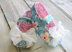 Baby Shoes Turquoise Pink Floral Baby ♥ by CollectiveCreationsC