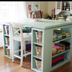 For the woman cave.    http://beingbrook.com/sewing-craft-room-tour-furniture/