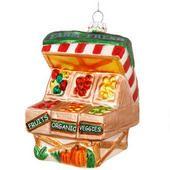 Farmer's Market Produce Stand Glass Ornament