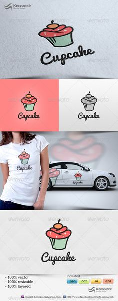 Cupcake Logo Design Template Vector #logotype Download it here: http://graphicriver.net/item/cupcake-logo-template/5701918?s_rank=446?ref=nexion