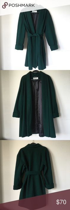 Hunter Green Winter Wool Coat Purchased from the Victoria's Secret catalog in the 90s, this beautiful coat is super warm and perfect for the holidays. Minor interior stain as pictured. international scene Jackets & Coats