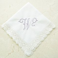 NEW Hand Made Bobbin Lace Handkerchief, Monogrammed Handkerchief, Personalized…