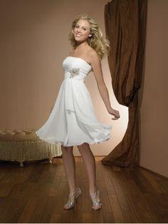 New Arrival Lovely A Line Sweetheart Sleeveless Chiffon Pleat Beaded vintage Short Knee Length Wedding Dresses US $99.99