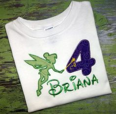 Tinkerbell Tink Fairy Monogrammed Birthday Shirt by Blumers Embroidery https://www.etsy.com/listing/159481753/tinkerbell-tink-fairy-monogrammed