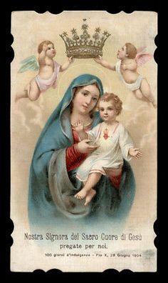 antico santino cromo-holy card N.SIGNORA DEL S.CUORE DI GESU' in BOLOGNA