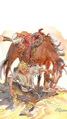 Jean Giraud, Ken Parker, Serpieri, Morris, Le Far West, Action Poses, Fun Comics, Old West, Western Art