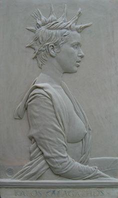 HONOR AWARD  Gavin Gardner  Kalos Kai Agathos  13 X 7¾ in.  cast stone bas-relief