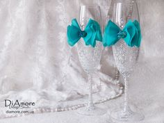 Tiffany Blue Wedding glasses / LACE white wedding by DiAmoreDS, $45.00
