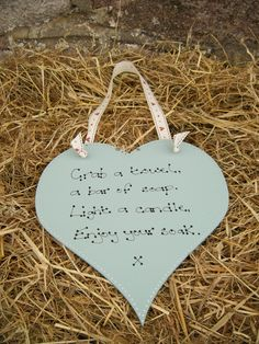 Beautiful Shabby Chic Duck Egg Blue Wooden Heart Bathroom Ensuite Plaque Sign | wowthankyou.co.uk
