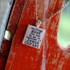 from The Adopt Shop - another awesome scrabble tile necklace. @Jennifer Vines, this one is similar to mine. (I can't find my exact one)