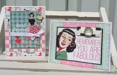 Awesome retro cards using Authentique Fabulous line. Card Making Inspiration, Making Ideas, Scrapbooking Layouts, Scrapbook Paper, Diy Car, Paper Cards, Mini Albums, Cardmaking, Diy Crafts