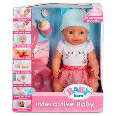 Baby Born Interactive Baby Doll with Dark Brown Eyes - Mandeep Madden Dolls Muñeca Baby Alive, Baby Alive Dolls, Baby Doll Toys, Baby Doll Set, Baby Born, Tips And Tricks, Interactive Baby Dolls, Musik Player, Kids Party Supplies