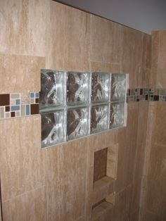 master shower with glass block window