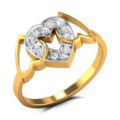 Buy Sabrina Fused Hearts Diamond Ring in 2.25 Grams Gold Online