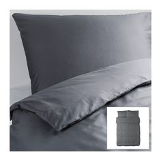 GÄSPA Duvet cover and pillowcase(s) - dark gray, Full/Queen (Double/Queen) - IKEA