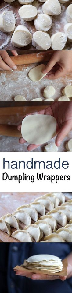 Homemade dumpling wrappers for water boiled dumplings, steamed dumplings or potstickers - food_drink Steamed Dumplings, Homemade Dumplings, Chinese Dumplings, Steamed Buns, Dumpling Recipe, Asian Recipes, New Recipes, Cooking Recipes, Recipies
