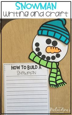 Looking for a winter writing activity? This Snowman Writing Craft is a fun way to assess students writing and make a cute craft display! Its perfect for any kindergarten and first grade classroom. Create a purposeful bulletin board! #snowmancrafts #writingprompts #winteractivities #firstgradewriting #bulletinboards #homechool