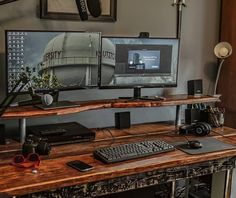 Home Office Furniture: Choosing The Right Computer Desk Computer Desk Setup, Gaming Room Setup, Pc Desk, Gaming Computer, Rustic Computer Desk, Workspace Desk, Home Office Setup, Home Office Design, Home Office Furniture