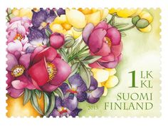 Finnland 2015 - Congratulate with a colorful bouquet Going Postal, First Day Covers, Flower Stamp, Stamp Collecting, Mail Art, Vintage Images, Postage Stamps, Bonsai, Poster